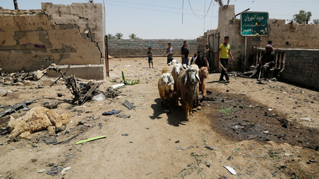 A youth leads a herd of sheep past the site of a suicide bomb attack in a southeastern suburb of Baghdad, Iraq April 30, 2016. © Wissm al-Okili