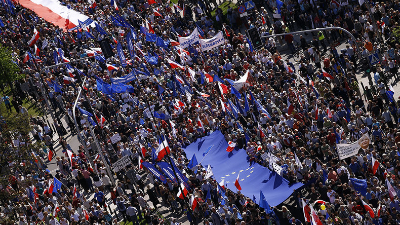 Tens of thousands flood Warsaw in 'biggest' anti-govt, pro-EU protest in decades (VIDEO)