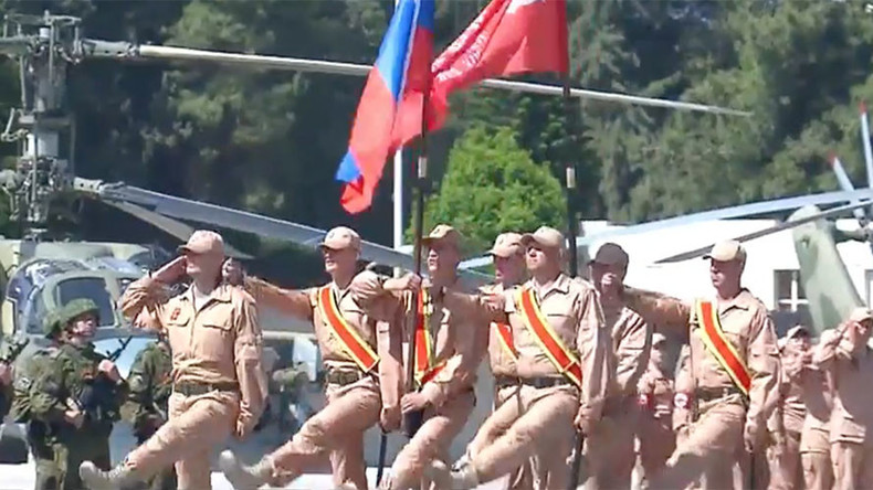 Soviet Victory Banner in Syria: Russian and Syrian troops mark Victory Day at Khmeimim airbase