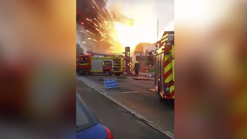 Incredible moment burning firework factory explodes (VIDEO)