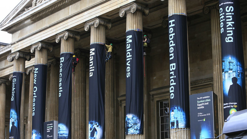 Greenpeace activists scale British Museum columns in protest at BP sponsorship