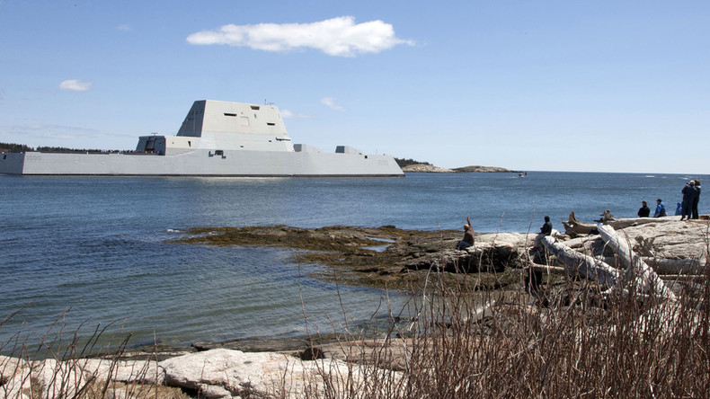 Captain Kirk takes delivery of US Navy's futuristic stealth destroyer