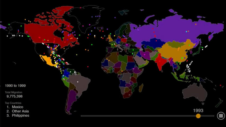 hypnotic animated map shows 200 years of us immigration in 1 minute video