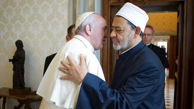 'Our meeting is our message': Pope Francis hugs top imam during Vatican meeting