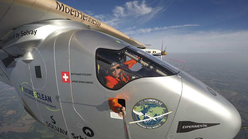 Extreme selfie: Pilot takes snap from solar powered plane during globe circling voyage (PHOTOS)