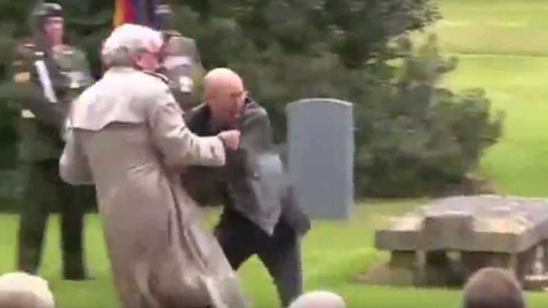 Canadian envoy who took down terrorist tackles protester at Easter Rising ceremony in Ireland