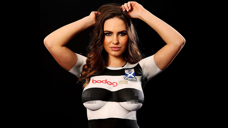 Football club faces criticism after using topless model to promote new strip