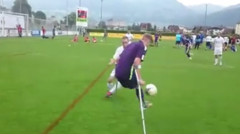 Amputee footballer scores contender for goal of the season (VIDEO)