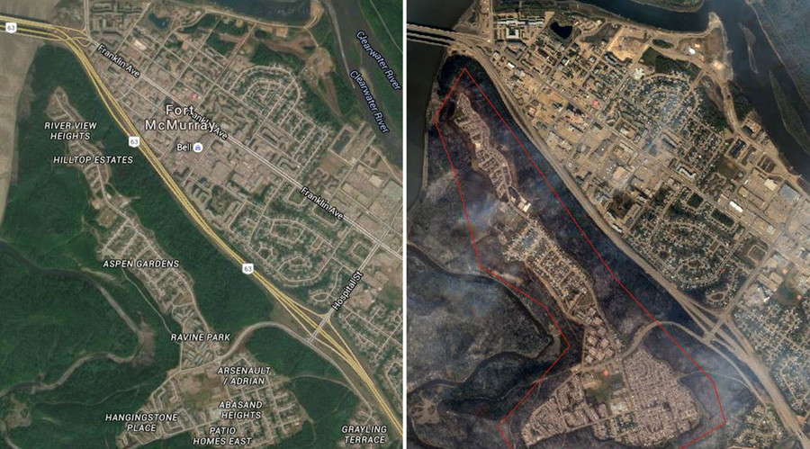 Fort Mcmurray Wildfire Map.Before After Satellite Images Show Wildfire Devastation Wreaked