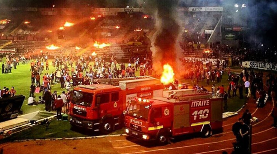 3 injured as Turkish football fans set fire to own stadium after bitter home loss (VIDEO)