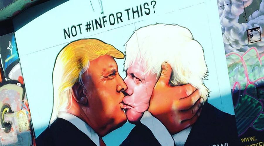 'Kiss of death!' Boris & Trump share passionate smooch in pro-EU mural