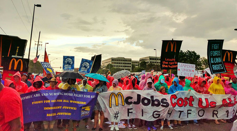'Fight for 15' protest occupies McDonald's HQ, sets up camp