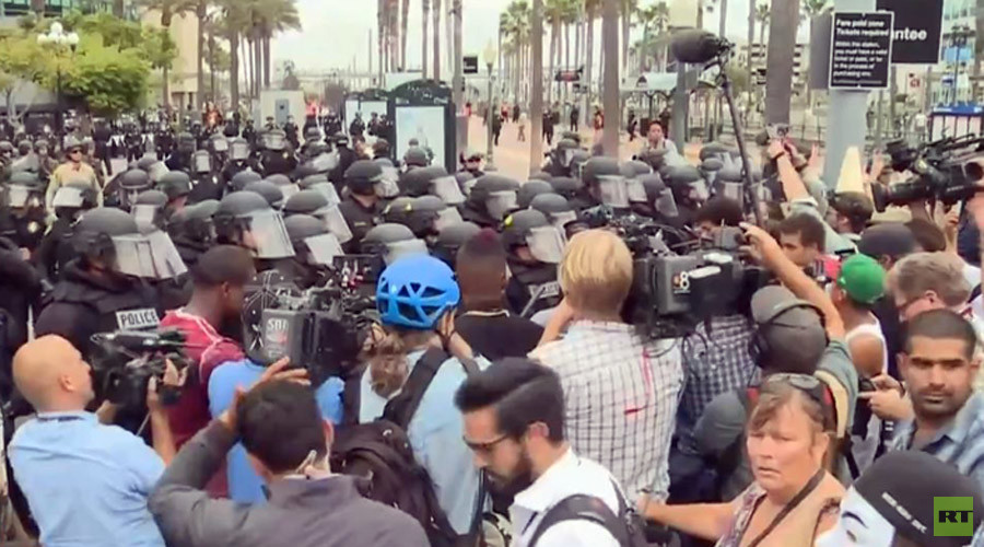 35 arrested, anti-Trump protesters clash with police in San Diego, California