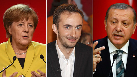 German Chancellor Angela Merkel (L), German comedian Jan Boehmermann (C) and Turkish President Tayyip Erdogan. © Reuters
