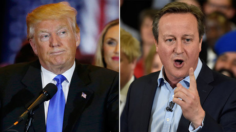 Republican U.S. presidential candidate and businessman Donald Trump (L) and British Prime Minister David Cameron. ©Reuters
