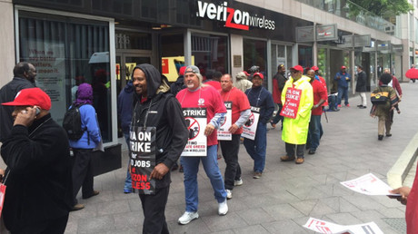 Strikers persist as Verizon shares slip & White House gets involved