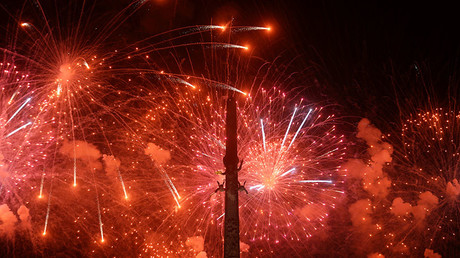 RT drone captures superior view of Moscow's Victory Day fireworks spectacle