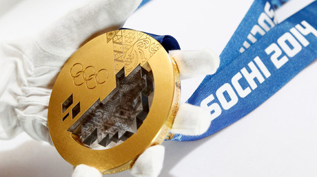 A gold medal manufactured for the 2014 Winter Olympic Games in Sochi. © Sergei Karpukhin