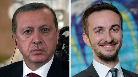 Turkish President Recep Tayyip Erdogan (L) in Lima on February 2, 2016 and German TV comedian Jan Boehmermann. © AFP / DPA