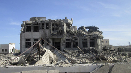 Damage is seen at a site hit by Saudi-led air strikes on the al Qaeda-held port of Shahr city in Yemen © Stringer