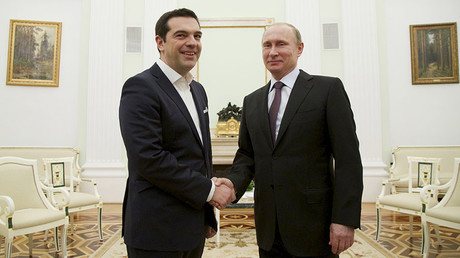 Russian President Vladimir Putin (R) and Greek Prime Minister Alexis Tsipras. ©Alexander Zemlianichenko