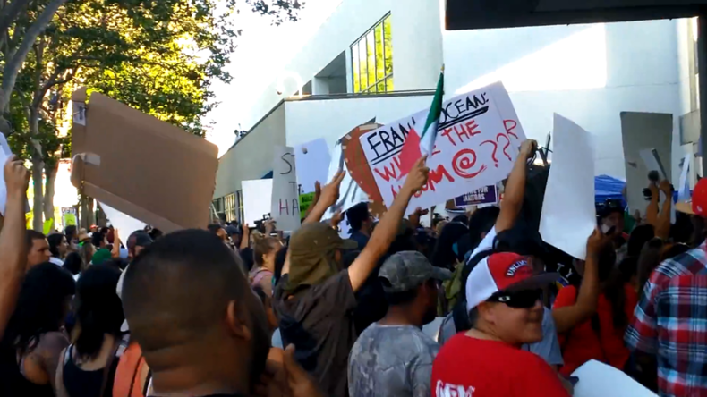 'F*** your wall!': Trump protesters & supporters clash in San Jose as Ryan offers endorsement