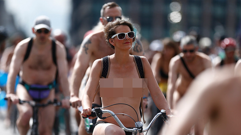 Naked bike ride highlights road dangers for cyclists in Welsh capital (PHOTOS)