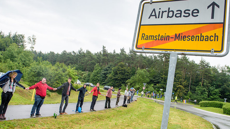 Thousands protest against US drone wars at US air base in Germany