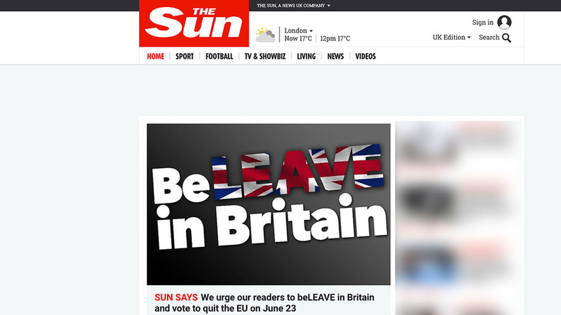 'BeLEAVE in Britain!' Rupert Murdoch's Sun backs Brexit as 'Leave' takes poll lead