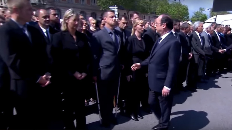 French officer shuns Hollande & PM Valls during ceremony for slain police couple (VIDEO)
