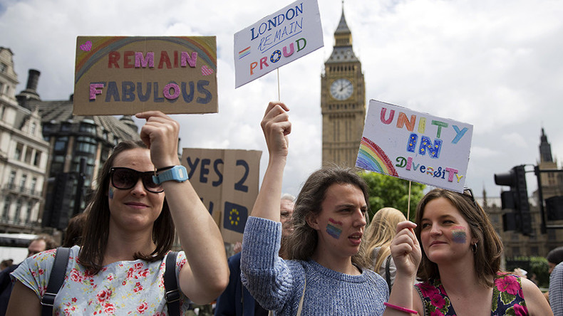 Hundreds join 'F**k Brexit rally' at Houses of Parliament (PHOTOS)