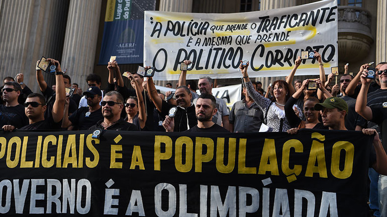 Rio police protest unpaid wages as Olympics security collapse looms