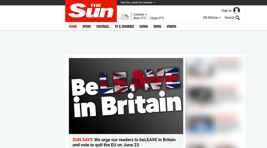 'BeLEAVE in Britain!' Rupert Murdoch's Sun backs Brexit as 'Leave' takes poll lead