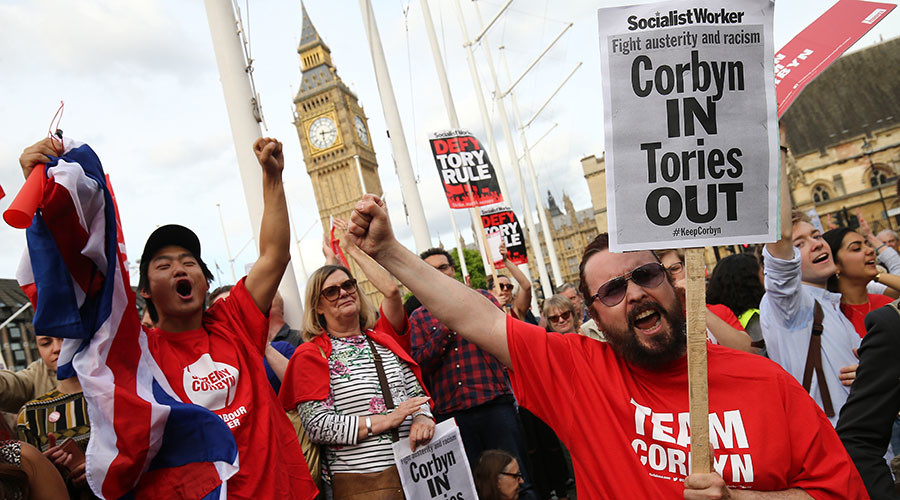 #KeepCorbyn! Grassroots protest to defend Labour chief amid mass cabinet resignations (VIDEO)