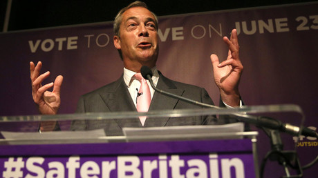 Leader of the United Kingdom Independence Party (UKIP) Nigel Farage speaks at pro Brexit event in London, Britain June 3, 2016. © Neil Hall