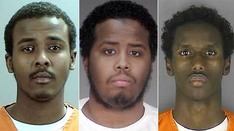 (L-R) Abdirahman Yasin Daud, Mohamed Abdihamid Farah and Guled Omar ©  Sherburne County Jail / Washington County Jail / Hennepin County Sheriff's Office