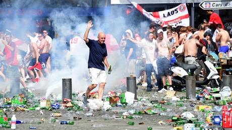 Tear gas is fired at England fans as they gather in the city of Marseille, southern France, on June 11, 2016, ahead of the Euro 2016 football match between England and Russia. © Leon Neal