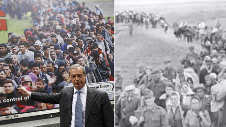 UKIP EU Referendum poster unveiled June 16, 2016 (L), screenshot from Nazi newsreel dated August 6, 1941 (R). © Reuters / USHMM