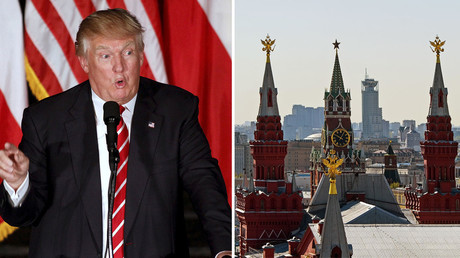 Republican U.S. Presidential candidate Donald Trump (L), a view on the Kremlin, Moscow. © Reuters