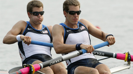 Tyler Winklevoss (L) and Cameron Winklevoss of the U.S. during the Beijing 2008 Olympic Games at Shunyi Olympic Rowing Park © Darren Whiteside