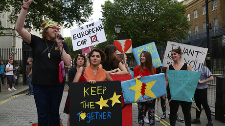 A small group of Anti-Brexit protesters protest opposite Downing Street in central London following the UK's decision to leave the EU, in central London on June 24, 2016 © Geoff Caddick