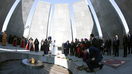 Pope Francis and Catholicos of All Armenians Karekin II attend a ceremony in commemoration of Armenians killed by Ottoman forces during World War One at the Tzitzernakaberd Genocide Memorial in Yerevan, Armenia, June 25, 2016. © Maurizio Brambatti