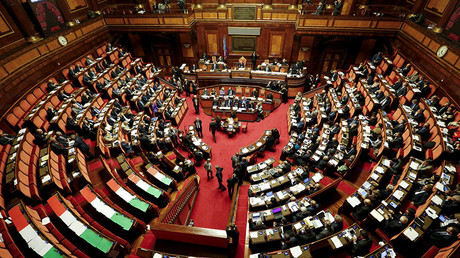 A general view of the Italian Senate is seen during a debate in Rome, Italy. © Remo Casilli