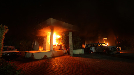 The U.S. Consulate in Benghazi is seen in flames during a protest by an armed group said to have been protesting a film being produced in the United States September 11, 2012. © Esam Al-Fetori