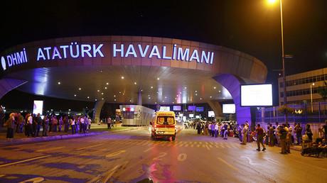 Ambulance cars arrive at Turkey's largest airport, Istanbul Ataturk, Turkey, following a blast June 28, 2016. ©Osman Orsal