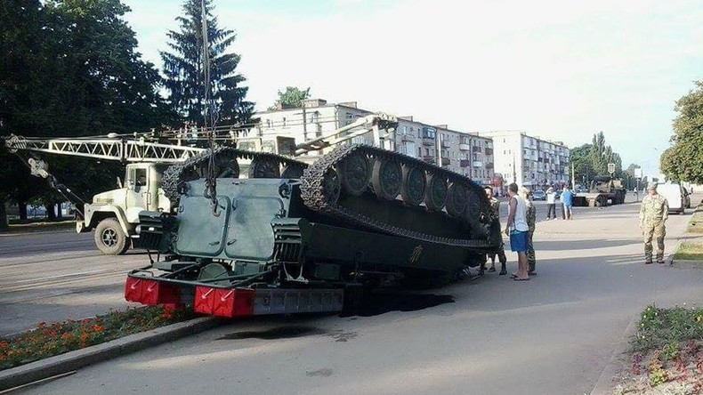 Load fail: SAM launcher brought for military show in Ukraine flips over (PHOTOS)