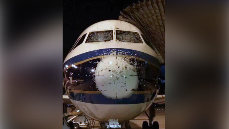 Chinese plane makes miraculous landing after hailstorm cracks cockpit windows