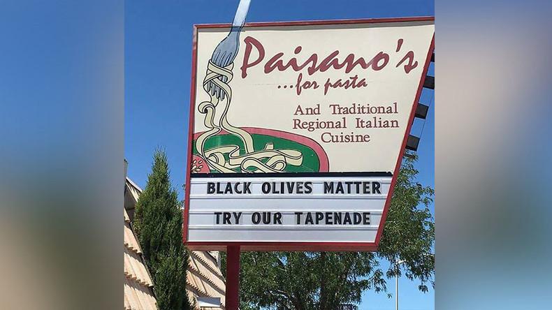 'Black Olives Matter' pun sparks outrage, boosts sales for Italian restaurant