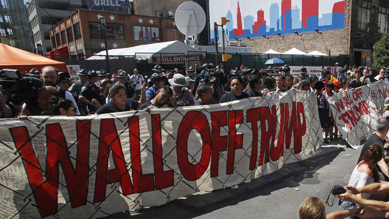 Wall Off Trump demonstration built inside RNC's secure perimeter (PHOTOS, VIDEOS)