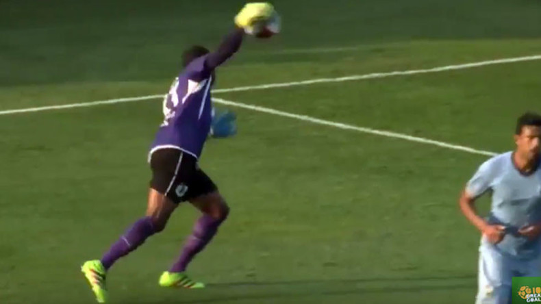 #BlameItOnTheJelly: Soccer goalie scores epic own goal, says sandwich is at fault (VIDEO)